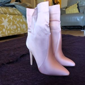 Pink satin Ankle Boots